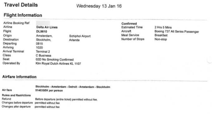 Här är dokumenten som visar statssekreterare Erik Bromanders höga dyra flygbiljetter och traktamenten för lediga dagar.