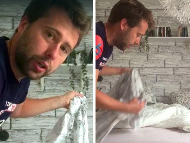 """Tycker du att det är svårt att bädda med påslakan utan """"hål""""? Mattias Larsson har lösningen."""