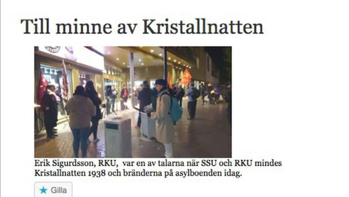 """Enligt RKU:s hemsida är det inte första gången de båda organisationerna samarbetar. I november ska SSU och RKU i Kristianstad ha uppmärksammat minnet av """"kristallnatten 1938 och bränderna på asylboenden i dag""""."""