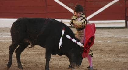 Elvaårige Michelito uppträdde som matador i södra Mexiko och dödade sex tjurar. Foto: AP
