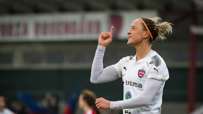 Sanne Troelsgaard gjorde alla målen i cupmatchen mot Vittsjö. Foto: CHRISTER THORELL/IBL