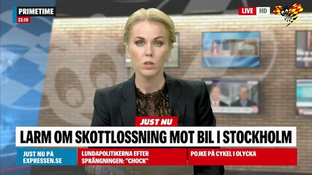 Larm om skottlossning mot bil i Stockholm
