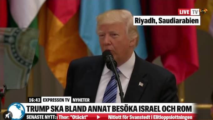 Donald Trump vädjade om att dela bördan i kampen mot terror. Foto: SKÄRMBILD EXPRESSEN-TV