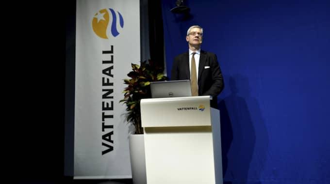 Vattenfalls vd Magnus Hall vid presskonferensen. Foto: Maja Suslin/Tt