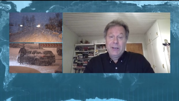 """Johan Groth: """"Omfattande snöområde som drar upp över landet"""""""