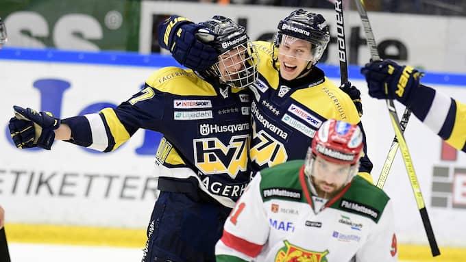David Gustafsson gjorde ett av HV71:s mål i segermatchen mot Mora. Foto: MIKAEL FRITZON / TT NYHETSBYRÅN