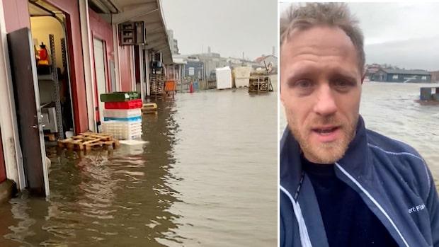 Filmen visar våldsamma översvämningar i Göteborgs hamn