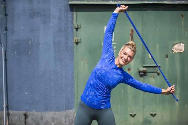 Erika Kits Gölevik är Hälsolivs träningsexpert – men hon är också träningscoach i nya hälsoappen Wellie.
