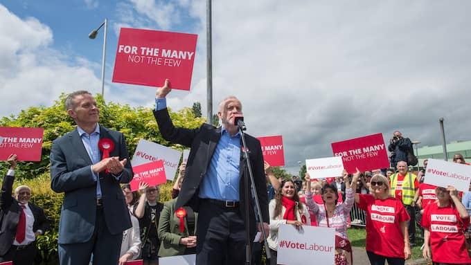 Jeremy Corbyn under valrörelsen i Reading, Berkshire. Foto: GUY SMALLMAN / GUY SMALLMAN / EYEVINE/IBL EYEVINE