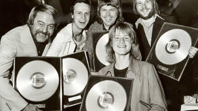 Stikkan Andersson, Kenneth Gärdestad, Björn Ulvaeus, Benny Andersson och Ted Gärdestad 1972. Foto: JAN WIRÉN