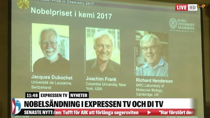 Jacques Dubochet, Joachim Frank och Richard Henderson får 2017 års kemipris. Foto: Expressen-TV