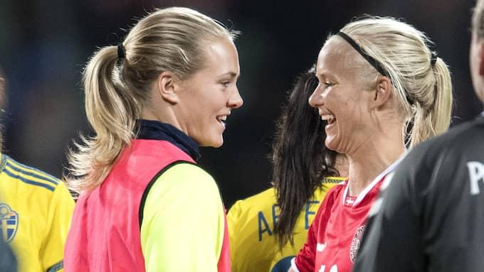 Eriksson och Harder efter EM-kvalmatchen 2016. Foto: / BILDBYRN