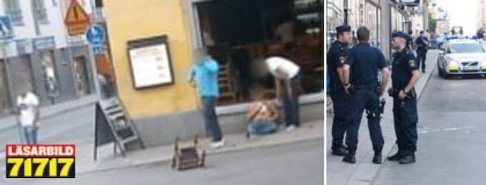 Minst en person skadades i skottlossningen, här i centrala Norrköping. Foto: Läsarbild och Leif Hallberg