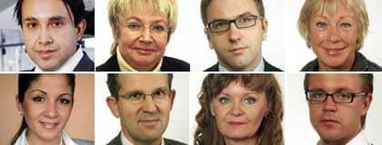 Luciano Astudillo (S), Magdalena Andersson (M), Fredrik Malm (FP), Wiwi-Anne Johansson (V), Gulan Avci (FP), Lennart Sacrédeus (KD), Carina Hägg (S), Fredrick Federley (C).