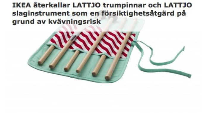 Ikea återkallar trumpinnarna och slaginstrument från serien Lattjo. Foto: Skärmdump Ikea
