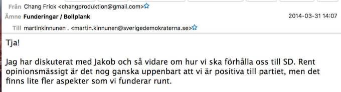 Mejl från Nyheter Idags profil Chang Frick till SD:s dåvarande presschef Martin Kinnunen, i dag riksdagsledamot.
