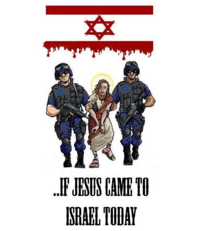 """Bilden som sprids av hatmånglarna. Påskkort upplagt av Mohannad Yousif på Facebook-eventet inför al-Nakba-demonstrationen i Malmö under ESC. Soldaterna och den blodiga Davidsstjärnan anknyter till den gamla påsktraditionen – att anklaga judarna för blodtörst och Jesusmord. Bildtexten, """"Nästa år firar vi påsken i det arabiska El-Qouds/Jerusalem"""", är en parafras av den judiska Rosh Hashanah-hälsningen """"Nästa år i Jerusalem!"""", ursprungligen en bön om att Messias ska komma och i dag en standardfras som """"Glad påsk!"""" Bilden cirkulerar på nätet, använd av såväl Radio Islam som antisemitismsajten The Ugly Truth."""