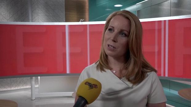 Annie Lööf (C) efter partiledardebatten i TV4