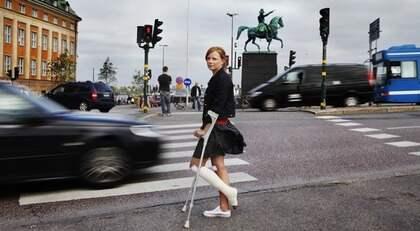 Therese Nyström, 30, blev påkörd av en taxi på ett övergångsställe vid Slussen i Stockholm. Foto: Johanna Berglund