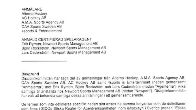 Anmälan och domen mot Rasmus Dahlins agentur Newports tre agenter.