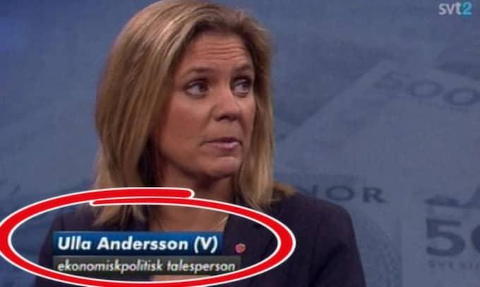 Här får Magdalena Andersson (S) heta Ulla Andersson. Foto: SVT