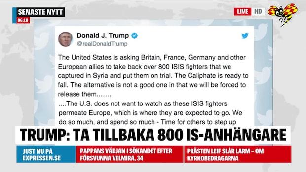 Trump vädjar till Europa: Ta tillbaka 800 IS-anhängare