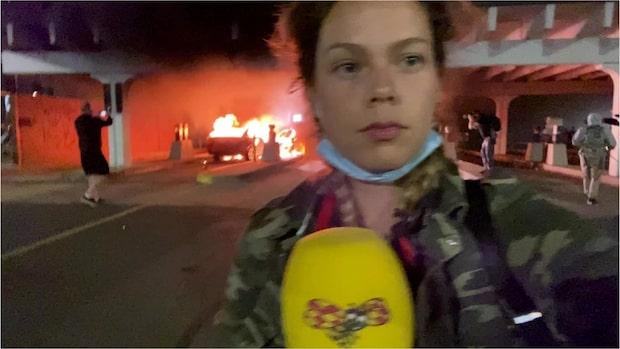 Efter massiva protesterna: Bankkontor sattes i brand