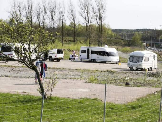 Asfaltsläggarna slog läger i Kungälv tidigare i år. Foto: Lennart Rehnman