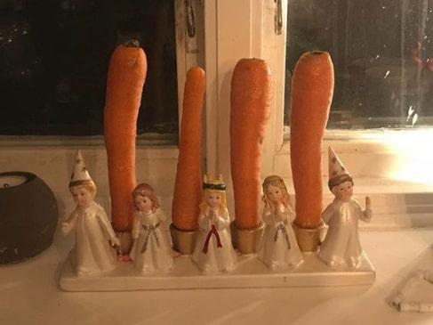 En morgon var ljusen hemma hos Lindas familj utbytta mot morötter. Nisse blev snabbt misstänkt för hysset.