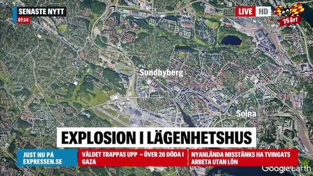 Explosion i lägenhetshus i Sundbyberg