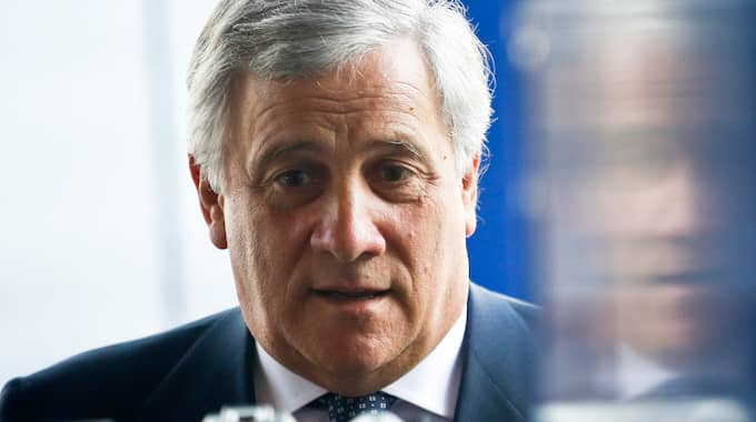 EU-presidenten Antonio Tajani mötte pressen på onsdagen. Foto: DARKO VOJINOVIC / AP TT NYHETSBYRÅN