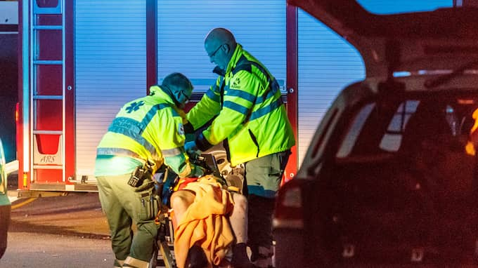 En person greps i samband med händelsen. Personen var också skadad. Foto: MARTIN ERIKSSON