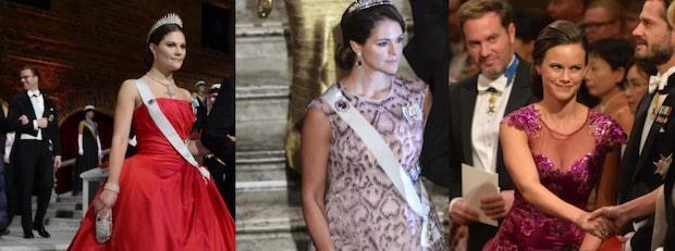 Det har Sveriges prinsessor burit på Nobelfesten