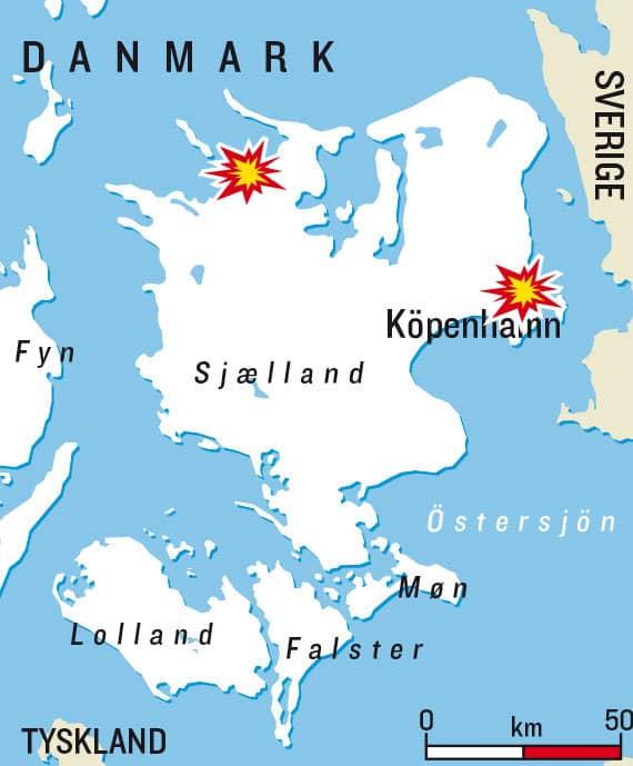 Flickan planerade att spränga dels sin egen skola, Sydskolen i Fårvejle (vänstra explosionen), och dels den judiska Carolinaskolan i Köpenhamn, i luften.
