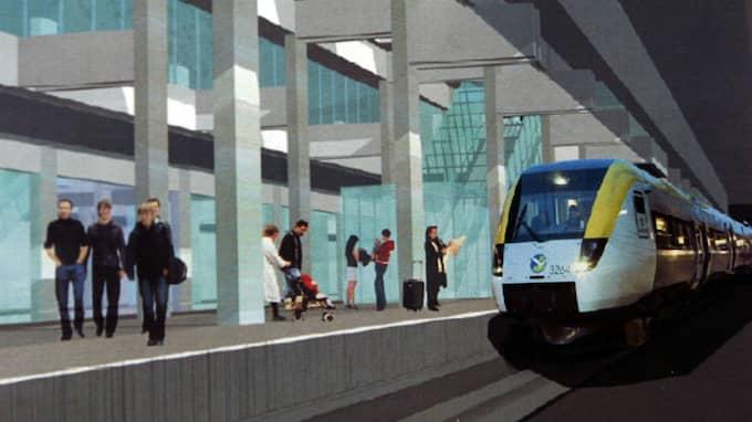 Så här är det tänkt att Västlänkens station Korsvägen ska se ut - även med en uppgång mot Avenyn. Foto: PER WISSING