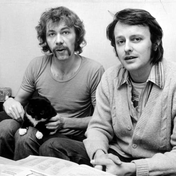 "Kjell Alinge och Janne Forssell i radioprogrammet ""Hemma hos"" på 1970-talet. Foto: Bertil Stilling"