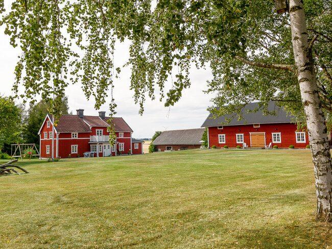Stor fantastisk trädgård med hallon, vinbär, plommon, äpplen, bigarråer, rabarber och sköna gröna ytor.