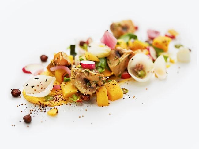 """""""Dill- och pepparrotsgraverad Hällestadssvamp med kålrotsallad"""" är en av SAS nya vegetariska rätter."""