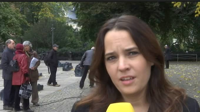 Expressens kulturchef Karin Olsson under manifestationen.