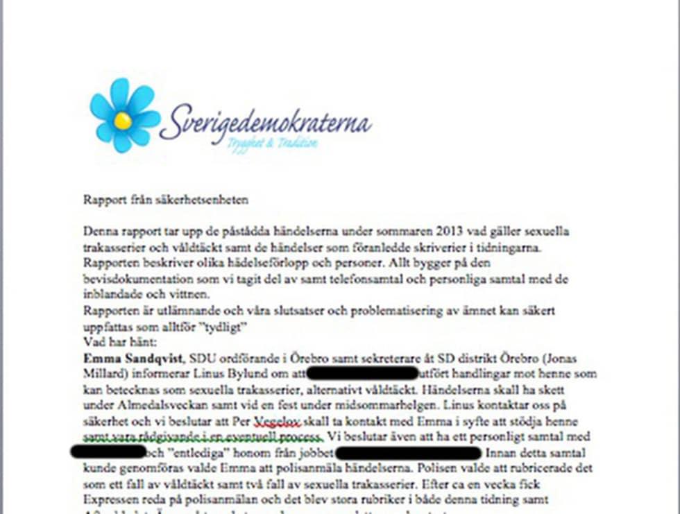 I en intern säkerhetsrapport avhandlas hur SD bör hantera de kvinnor som anmält sexövergrepp inom partiet.