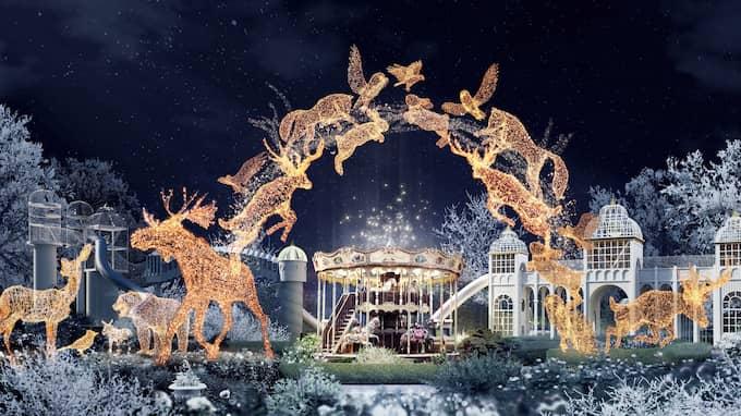 """En ny ljusinstallation med sagotema visas i Lisebergs trädgårdar där sagofigurer syns i en """"virvlande dans"""". Foto: Liseberg"""