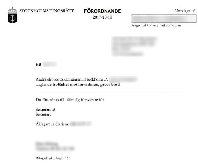 Tingsrättens förordnande av försvarare för den toppdirektör inom Allra-koncernen som nu begärs häktad. I handlingen kallas han för ''B'' på grund av den rådande sekretessen. Foto: Leif Brännström