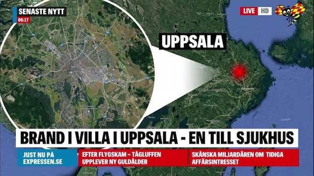 Man skadad efter villabrand i Uppsala