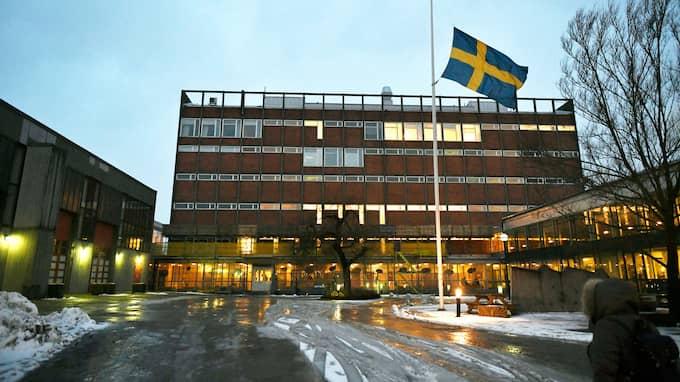 Flaggan på halv stång vid skolan efter mordet. Foto: VILHELM STOKSTAD/TT / TT NYHETSBYRÅN