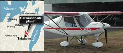 Flygplan stortade vid tidaholm