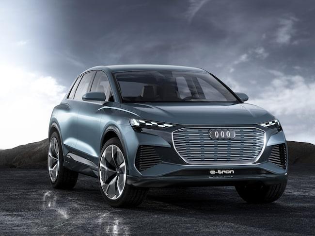 Här är Audi Q4 e-tron concept – visad vid bilmässan i Genève.