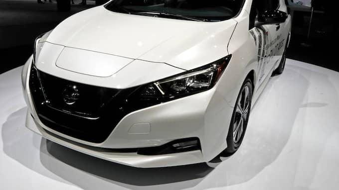 Den nya japanska fabriken är konstruerad för att kunna rymma ett stort antal använda elbilsbatterier från den tidiga elbilsmodellen Nissan Leaf. Foto: PETER FOLEY / EPA / TT / EPA TT NYHETSBYRÅN