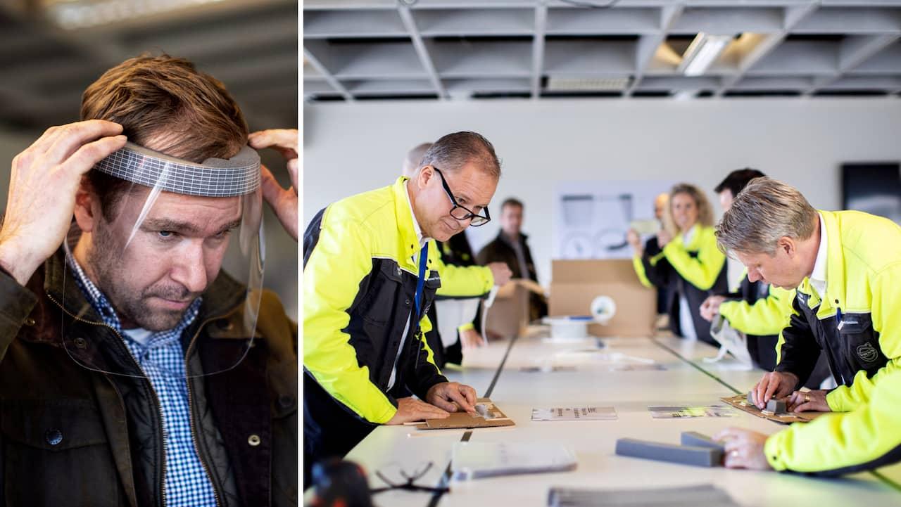 Här gör Volvo-personal skyddsvisir till vården