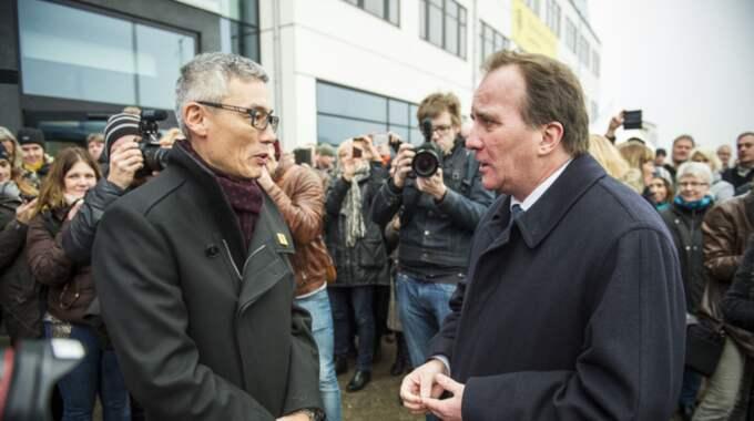 Stefan Löfven, här med Linnéuniversitetets nya rektor Stephen Hwang. Foto: Suvad Mrkonjic