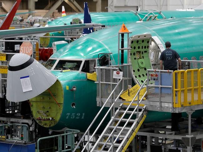 En Boeing 737 MAX 8 på fabriken utanför Seattle i USA.